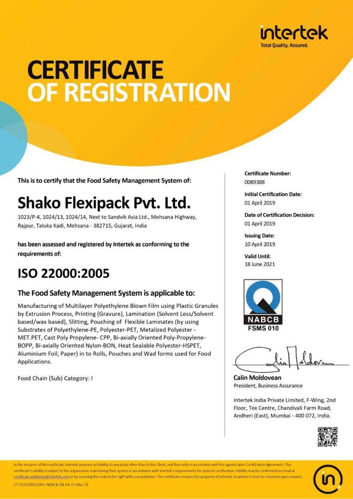 ISO 22000-2005 Certificates